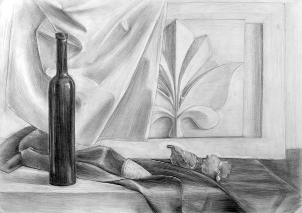 Рисунок с натуры гипсов